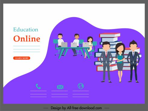 online education banner staffs books stack sketch