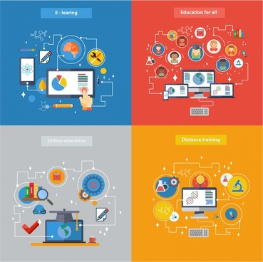 online education concepts illustration with colorful infographic style
