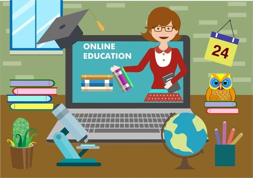 online education theme studying icons design