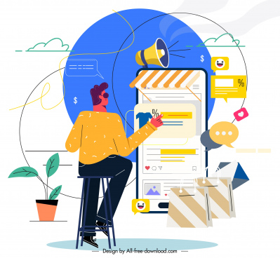 online marketing background customer smartphone business elements sketch