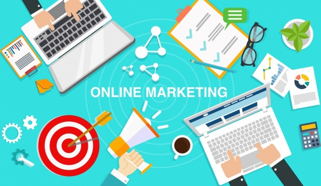 online marketing background laptop business design elements decor