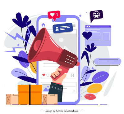 online marketing background speaker smartphone sketch