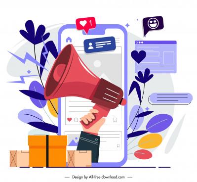 online marketing background speaker smartphone sketch