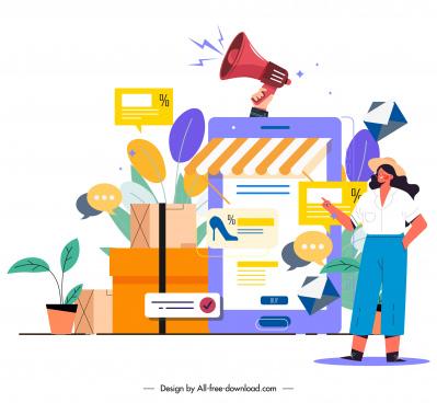 online marketing background trading elements sketch
