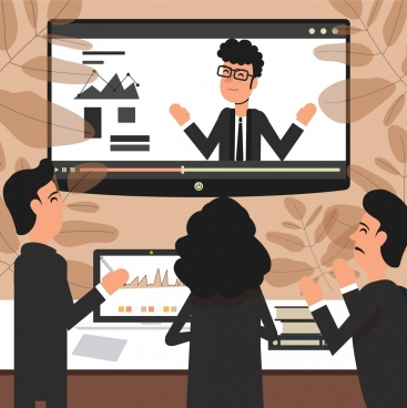 online meeting background people screen icons cartoon design