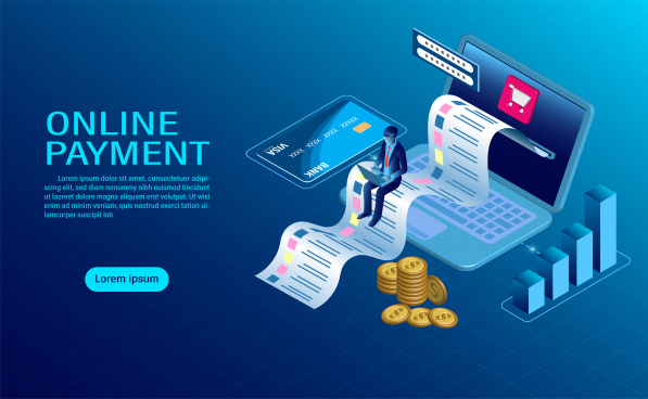 online payment with computer protection of money in laptop transactions modern flat design isometric illustration