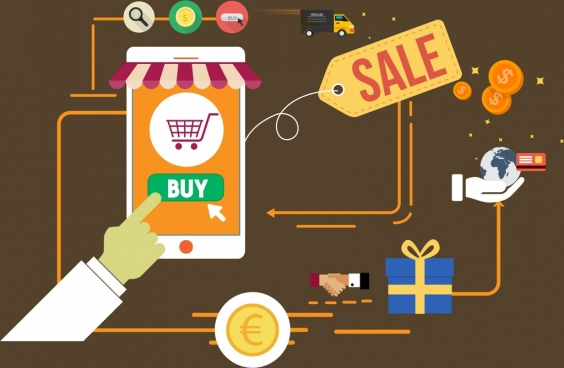 online sales concept flat design buying process decor