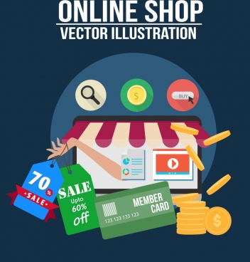 online shop advertisement webpage design commerce symbols