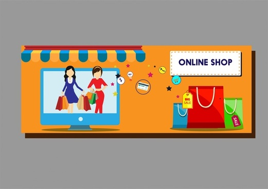 Online shopping design elements bags computer and symbols for Design on line outlet