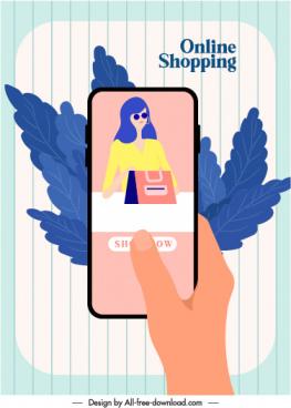 online shopping advertising banner smartphone leaves application sketch