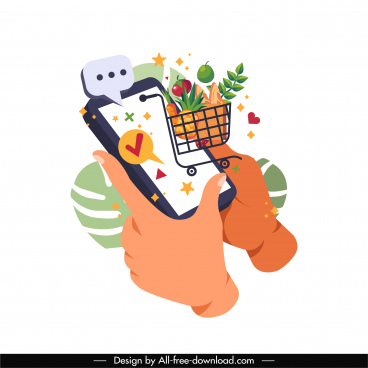 online shopping application icon smartphone hand trolley sketch