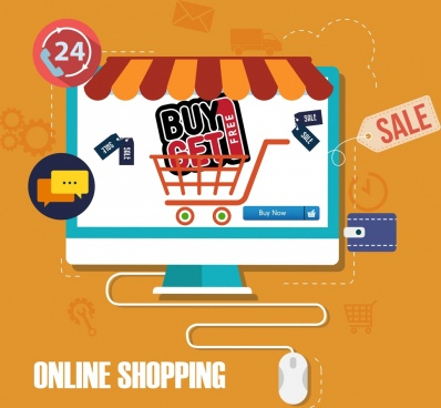 online shopping background computer screen trolley icons decor