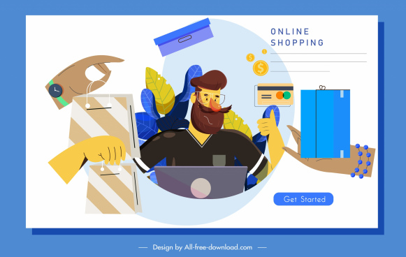 online shopping banner hands bags man sketch