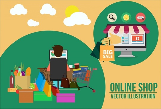 online shopping concept male and various goods illustration