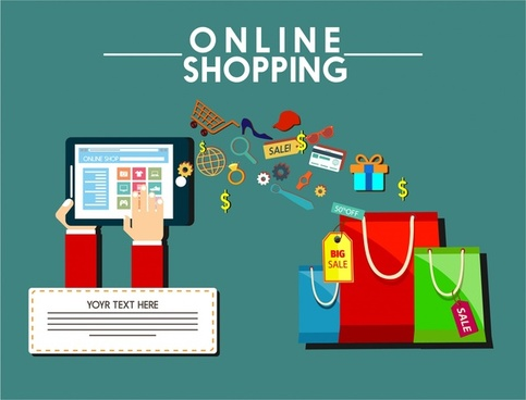online shopping design elements bags computer and symbols