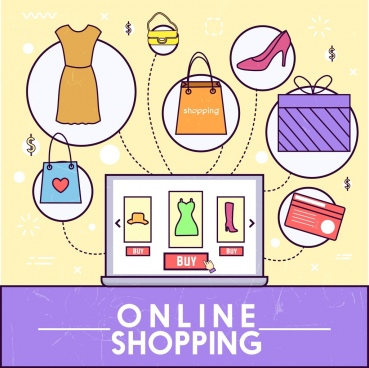 Online shopping concept male and various goods for Design online shop