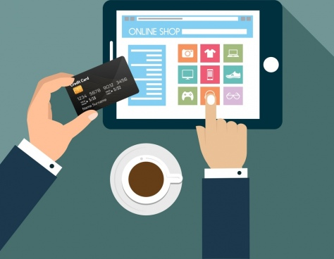 online shopping poster hand holding credit card icon