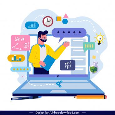 online study background computer lecturer education elements sketch