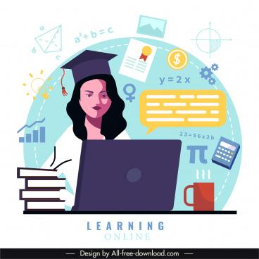 online study background student education elements symbols sketch