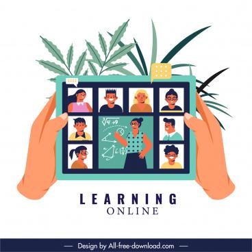 online study banner digital meeting sketch cartoon design