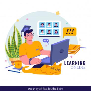 online study banner student laptop sketch cartoon design