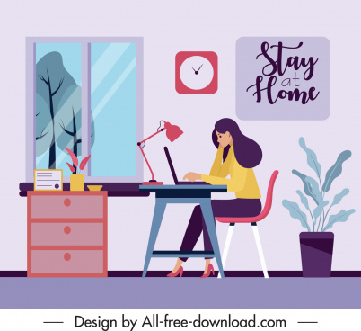 online work banner cartoon sketch colorful flat