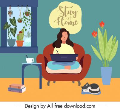 online work banner working girl home space sketch
