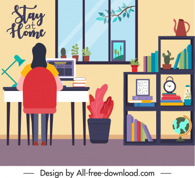online working banner home work space cartoon sketch