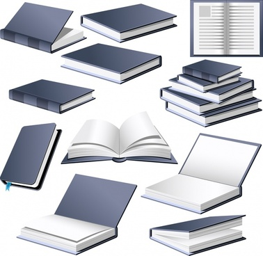 book icons 3d design grey white decor