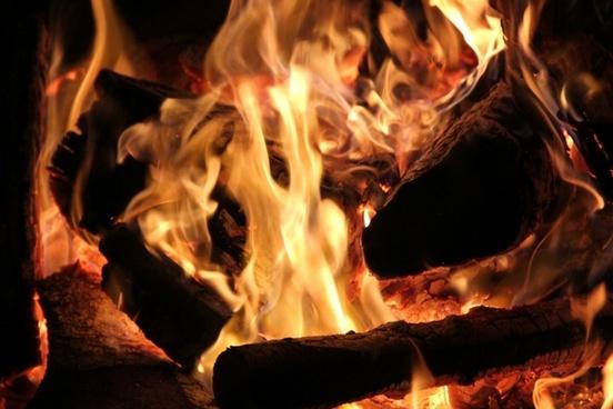 open fire fireplace wood