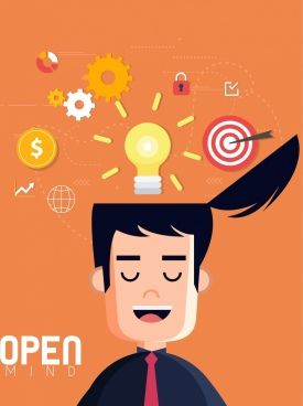 open minded concept drawing man head lightbulb icons