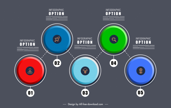 option infographic template colorful symmetric flat rounds sketch