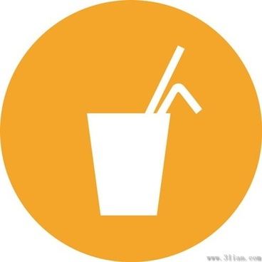 orange background beverage icons vector