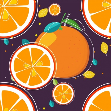 orange background colored flat design slices icons