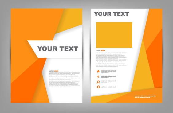 orange brochure cover vector free download