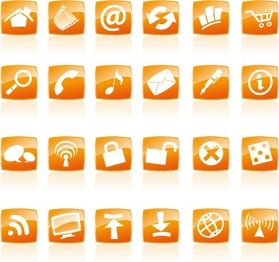 Orange crystal style icon vector commonly used web