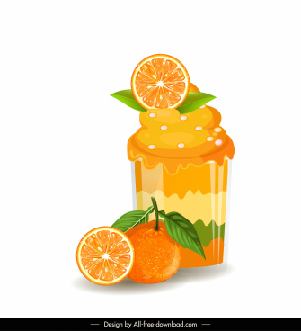 orange cupcake icon bright colorful 3d sketch