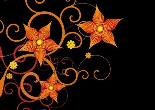 orange decorative flower on black background