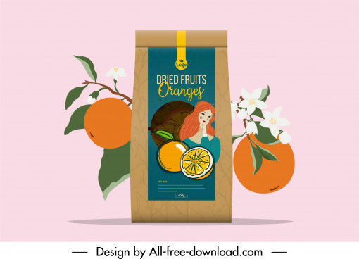 orange fruit package advertisement elegant classical handdrawn