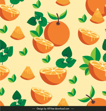 orange fruit pattern bright colored classic sketch