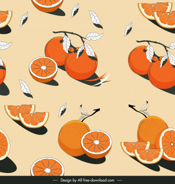 orange fruits pattern classical handdrawn design