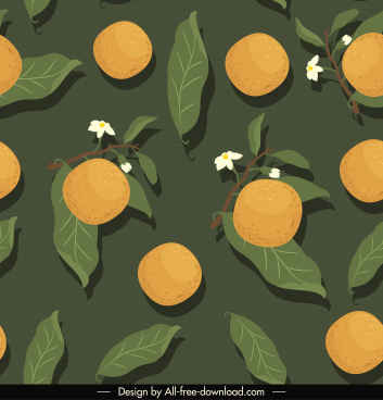 orange fruits pattern dark classical handdrawn design