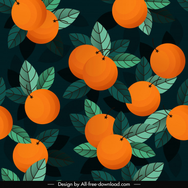 orange fruits pattern dark colored retro design