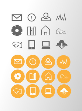 orange grey general icons