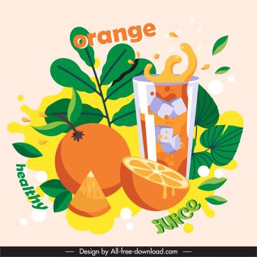 orange juice advertising banner colorful dynamic classic design