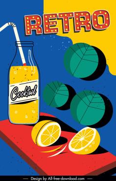 orange juice advertising banner handdrawn retro design