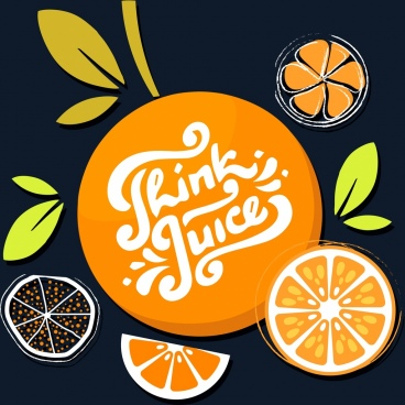 orange juice advertising flat classical colored design