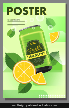 orange juice advertising poster colored flat dynamic sketch