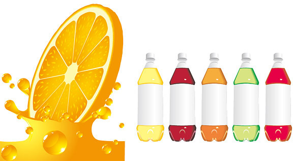 orange juice and beverage bottle vector