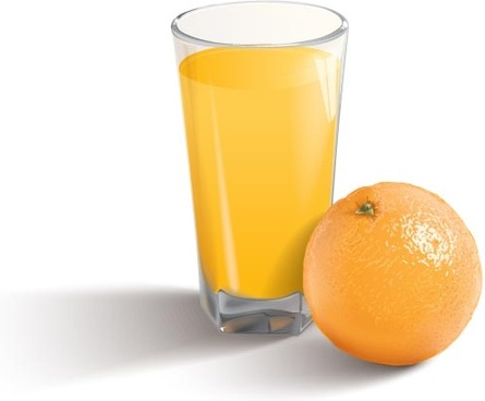 orange juice and orange vector